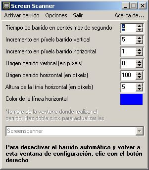 Pantalla del programa Screen Scanner