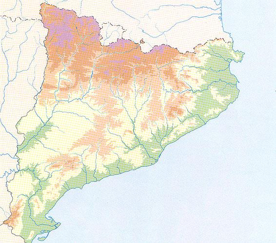 Mapa Físic De Catalunya Mut.L Erosio Costanera A Europa Les Dimensions De Catalunya